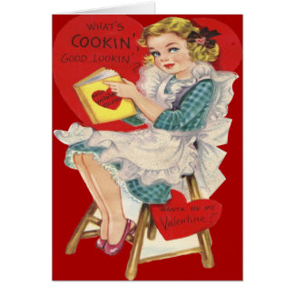 Vintage Retro Woman Cooking Valentine Card