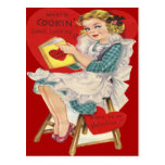 Vintage Retro Woman Cooking Valentine Card Postcards