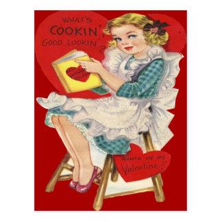 Vintage Retro Woman Cooking Valentine Card Postcard