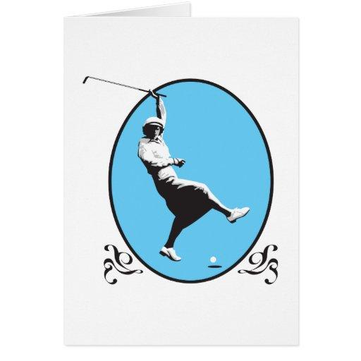 vintage retro woman golfer golfing design greeting card