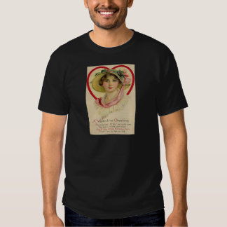Vintage Retro Woman Heart Valentine Card Tshirts