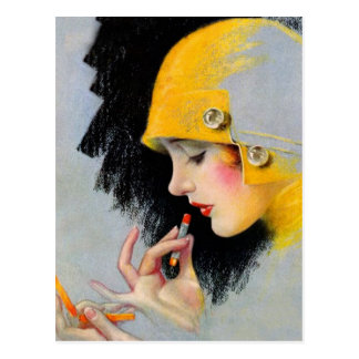 Vintage Retro Women 20s Hollywood Lipstick Girl Postcard