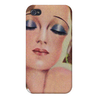 Vintage Retro Women 20s Make Up Eye Shadow Girl Cover For iPhone 4