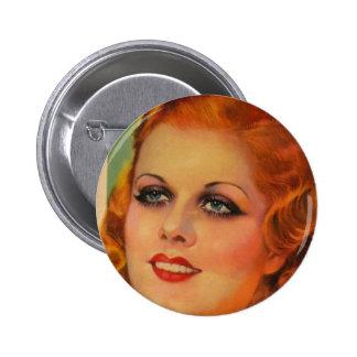 Vintage Retro Women 20s Movie Star Cover Girl 6 Cm Round Badge