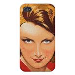Vintage Retro Women 20s Woman's Portrait iPhone 4 Covers