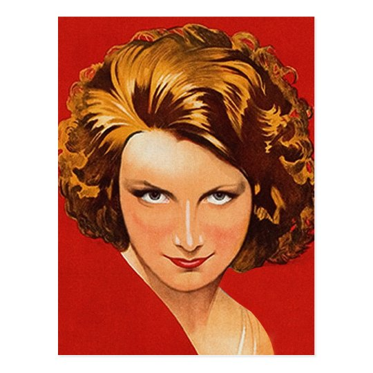 Vintage Retro Women 20s Woman's Portrait Postcard