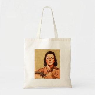 Vintage Retro Women 40s Military Woman WAAC Canvas Bag