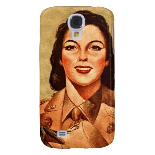 Vintage Retro Women 40s Military Woman WAAC Galaxy S4 Case