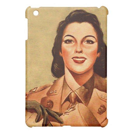 Vintage Retro Women 40s Military Woman WAAC iPad Mini Case