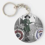 Vintage Retro Women 4th of July Girl Scout & Bike Keychain