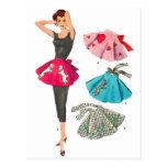 Vintage Retro Women 50s Fashion Poodle Skirt Apron Post Cards