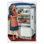 Vintage Retro Women 50s Kitchen Full Refrigerator Cards
