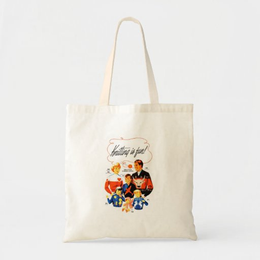 Vintage Retro Women 60s Knitting is Fun! Canvas Bag