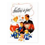 Vintage Retro Women 60s Knitting is Fun! Postcard