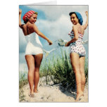 Vintage Retro Women 60s Surfing Beach Girls Greeting Card