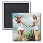 Vintage Retro Women 60s Surfing Beach Girls Refrigerator Magnets