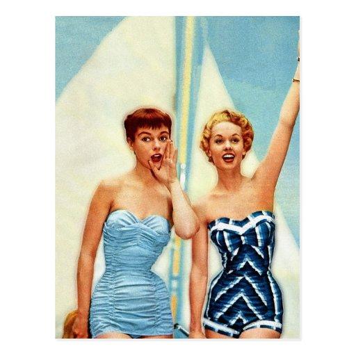 Vintage Retro Women 60s Swimwear Surfs Up! Postcard