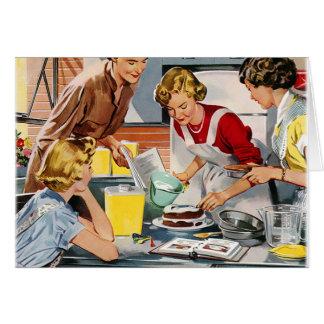 Vintage Retro Women Ad Let s Bake a Cake Greeting Card