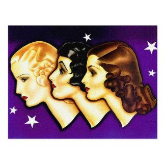 Vintage Retro Women Art Deco Three Women Post Card