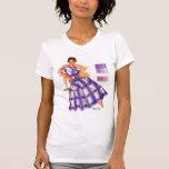 Vintage Retro Women Fashion Frock Plaid Ad T Shirts