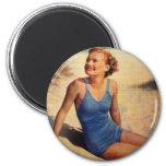 Vintage Retro Women Forties Swim Suit Beauty 6 Cm Round Magnet