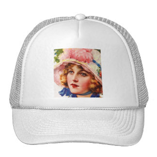 Vintage Retro Women Gibson Girl Illustration Mesh Hats