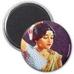 Vintage Retro Women India Indian Women Beauty Fridge Magnet