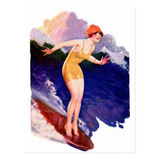 Vintage Retro Women Kitsch 20s Surfing Surfer Postcard