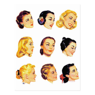 Vintage Retro Women Kitsch 50s Head Portraits Postcard