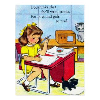 Vintage Retro Women Kitsch Dot thinks She'll Write Postcard