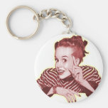 Vintage Retro Women Kitsch Excuse Me? Girl Keychains