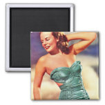 Vintage Retro Women Kitsch Forties Swimsuit Girl Square Magnet