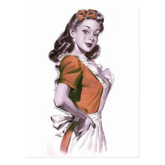 Vintage Retro Women Kitsch Happy Housewife Postcard
