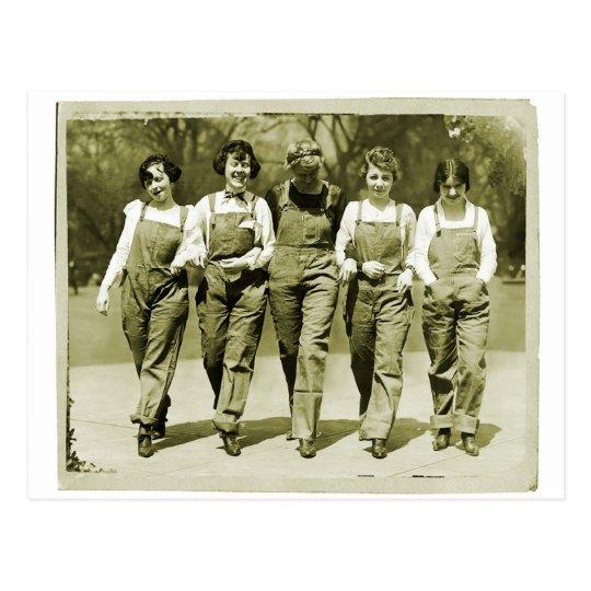 Vintage Retro Women Kitsch Jeans Overalls Girls Postcard