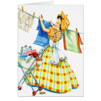 Vintage Retro Women Kitsch Laundry Day Greeting Card