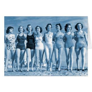 Vintage Retro Women Kitsch Surfing Beach Nuts Greeting Card