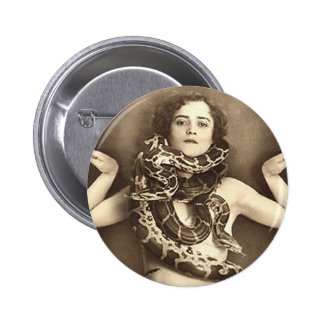 Vintage Retro Women Sideshow Snake Charmer 6 Cm Round Badge
