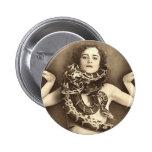 Vintage Retro Women Sideshow Snake Charmer Pinback Button