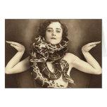 Vintage Retro Women Sideshow Snake Charmer Greeting Card