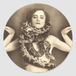 Vintage Retro Women Sideshow Snake Charmer Round Stickers