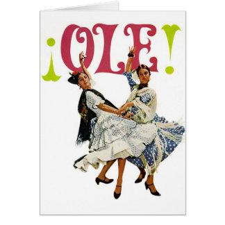 Vintage Retro Women Spainish Flamenco Dancers Ole! Greeting Card