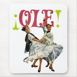 Vintage Retro Women Spainish Flamenco Dancers Ole! Mouse Mat