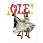 Vintage Retro Women Spainish Flamenco Dancers Ole! Post Cards