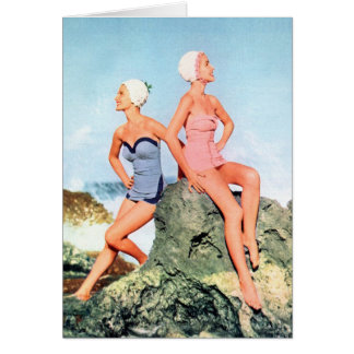 Vintage Retro Women Swimsuits and Swim Caps Too Greeting Card