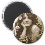 Vintage Retro Women Victorian Flower Girl Refrigerator Magnet