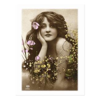 Vintage Retro Women Victorian Flower Girl Postcard