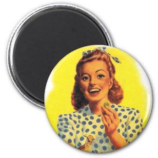 Vintage Retro Women Woman Gum Drop Girl 6 Cm Round Magnet