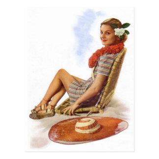 Vintage Retro Women Woman Hawaii Vacation Postcard