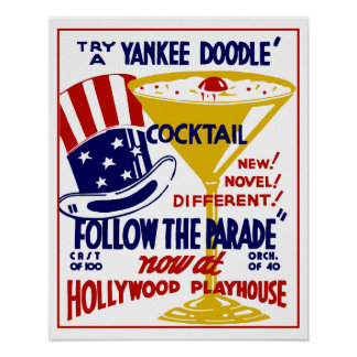 Vintage retro Yankee Doodle cocktail Poster