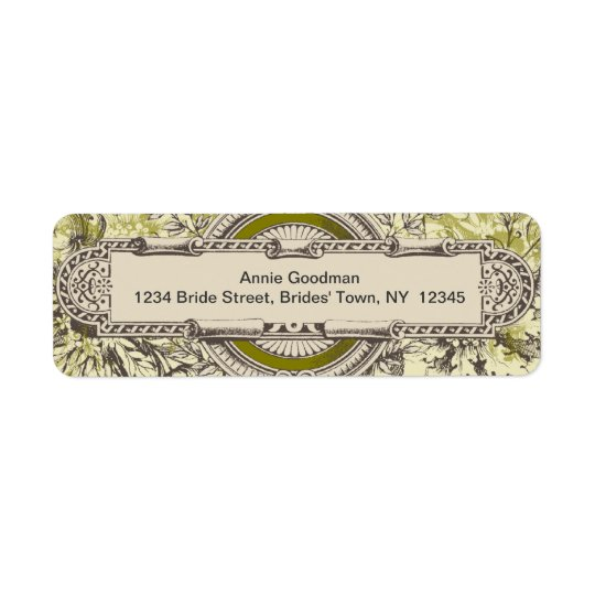 Vintage Return Address Labels Green Grey Cream